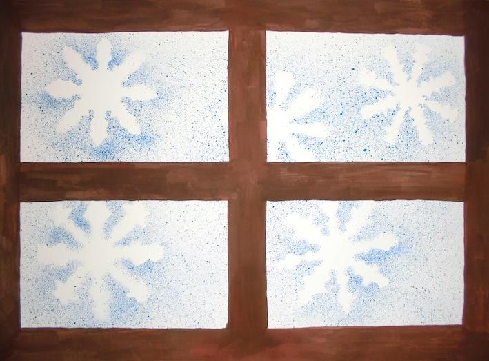 Schneeflocken vor dem Fenster