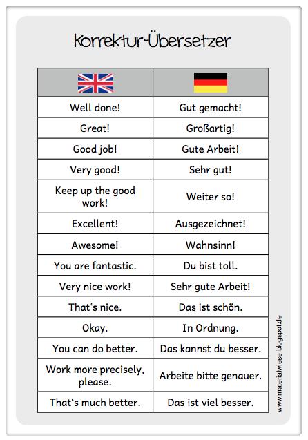 Korrektur-Übersetzer für das Englischheft
