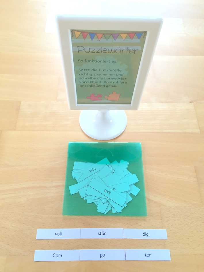 Lernwörterübungen: Puzzlewörter und Computerdiktat