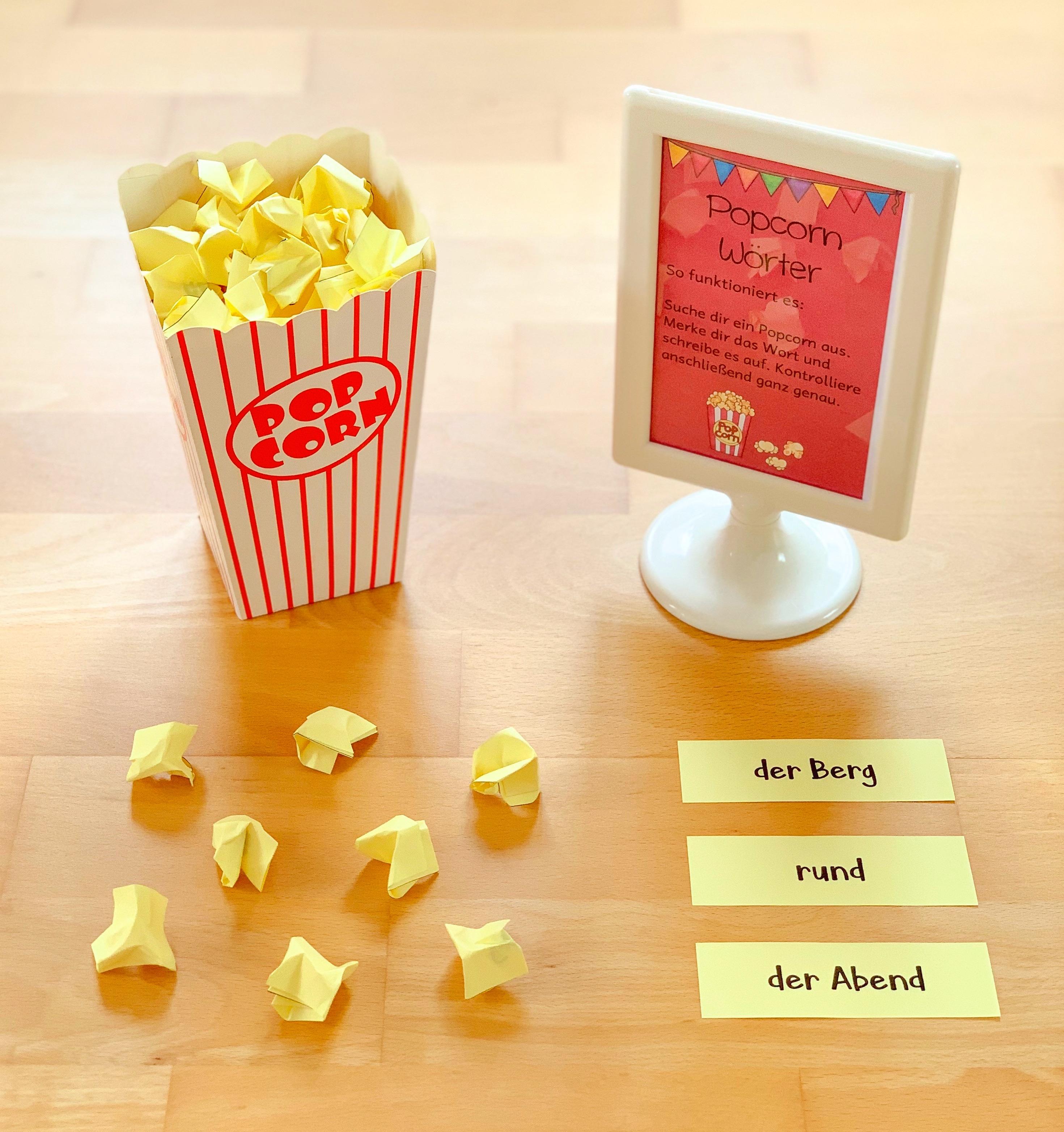 Lernwörter Popcorn