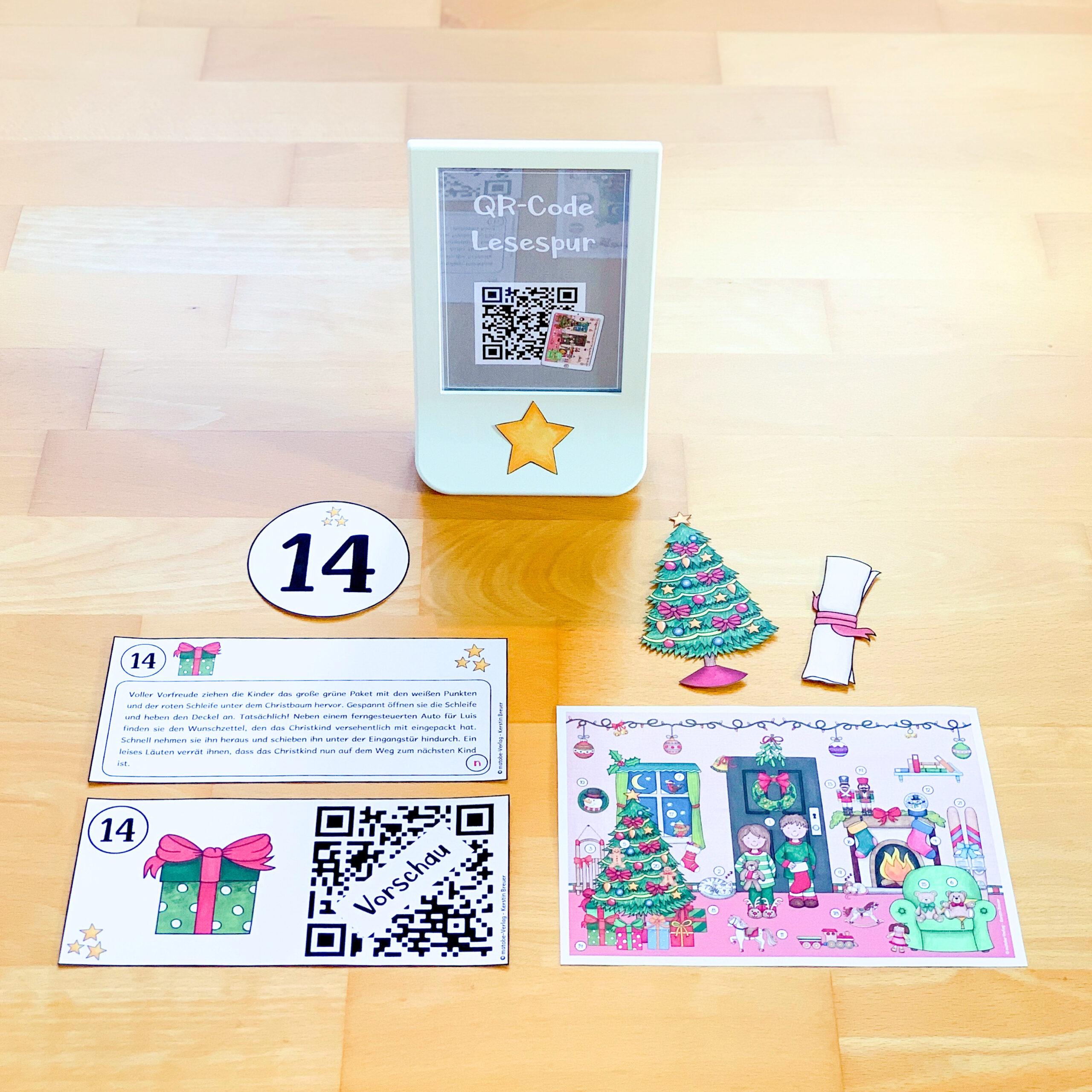 QR-Code Lesespur für Weihnachten