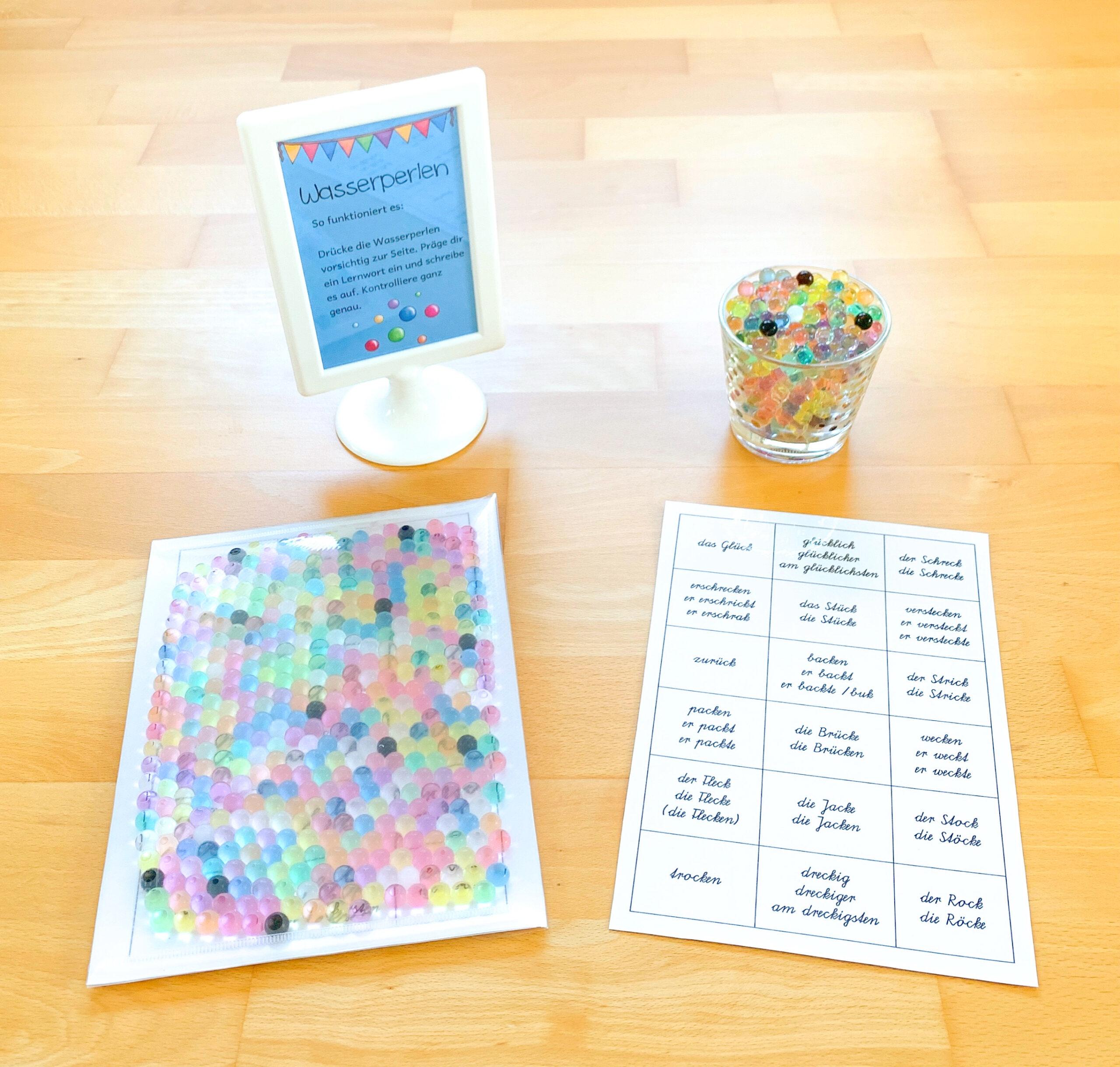 Lernwörter üben mit Wasserperlen